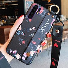 Custodia Silicone Gel Morbida Fiori Cover K02 per Huawei P30 Pro Nero