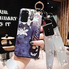 Custodia Silicone Gel Morbida Fiori Cover M01 per Samsung Galaxy S20 5G Blu