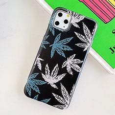 Custodia Silicone Gel Morbida Fiori Cover per Apple iPhone 11 Pro Max Nero