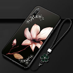Custodia Silicone Gel Morbida Fiori Cover per Huawei Enjoy 10 Marrone
