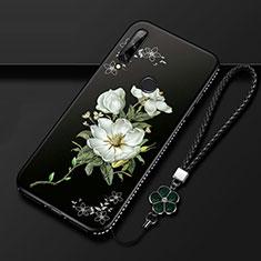 Custodia Silicone Gel Morbida Fiori Cover per Huawei Enjoy 10 Plus Bianco
