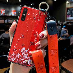 Custodia Silicone Gel Morbida Fiori Cover per Huawei Enjoy 10e Rosso