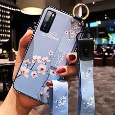 Custodia Silicone Gel Morbida Fiori Cover per Huawei Enjoy 20 Pro 5G Cielo Blu