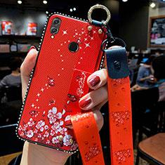 Custodia Silicone Gel Morbida Fiori Cover per Huawei Honor 10 Lite Rosso
