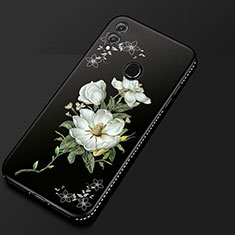 Custodia Silicone Gel Morbida Fiori Cover per Huawei Honor 8X Nero
