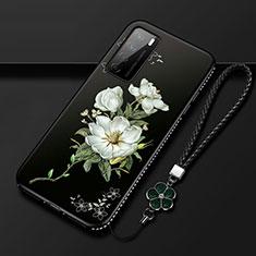 Custodia Silicone Gel Morbida Fiori Cover per Huawei Honor Play4 5G Bianco