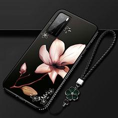 Custodia Silicone Gel Morbida Fiori Cover per Huawei Honor Play4 5G Marrone
