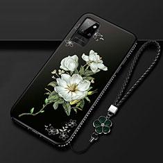 Custodia Silicone Gel Morbida Fiori Cover per Huawei Honor Play4 Pro 5G Bianco