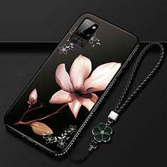 Custodia Silicone Gel Morbida Fiori Cover per Huawei Honor Play4 Pro 5G Marrone