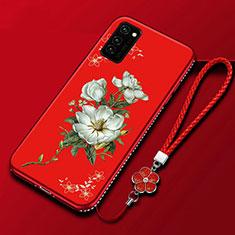 Custodia Silicone Gel Morbida Fiori Cover per Huawei Honor View 30 Pro 5G Rosso