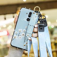 Custodia Silicone Gel Morbida Fiori Cover per Huawei Mate 20 Lite Cielo Blu