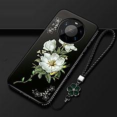 Custodia Silicone Gel Morbida Fiori Cover per Huawei Mate 40 Pro+ Plus Nero
