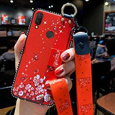 Custodia Silicone Gel Morbida Fiori Cover per Huawei P Smart Z Rosso