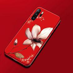 Custodia Silicone Gel Morbida Fiori Cover per Huawei P30 Pro Rosso