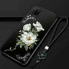 Custodia Silicone Gel Morbida Fiori Cover per Huawei P40 Lite Bianco