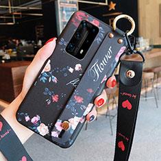 Custodia Silicone Gel Morbida Fiori Cover per Huawei P40 Pro+ Plus Arancione