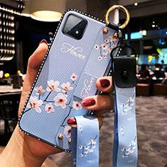 Custodia Silicone Gel Morbida Fiori Cover per Oppo A72 5G Azzurro