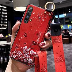 Custodia Silicone Gel Morbida Fiori Cover per Realme X50m 5G Rosso