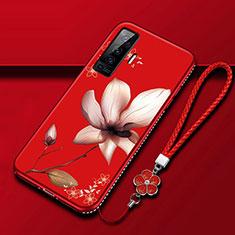 Custodia Silicone Gel Morbida Fiori Cover per Vivo X50 5G Rosso Rosa