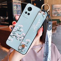 Custodia Silicone Gel Morbida Fiori Cover per Vivo X60 5G Azzurro