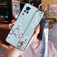Custodia Silicone Gel Morbida Fiori Cover per Vivo X60 Pro 5G Azzurro
