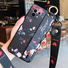 Custodia Silicone Gel Morbida Fiori Cover per Xiaomi Mi 11 5G Nero