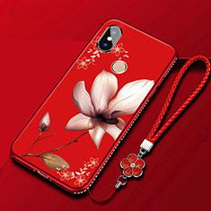 Custodia Silicone Gel Morbida Fiori Cover per Xiaomi Redmi 6 Pro Rosso