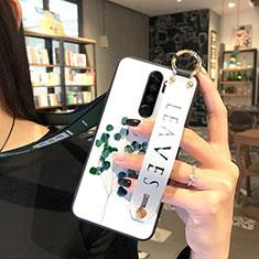Custodia Silicone Gel Morbida Fiori Cover per Xiaomi Redmi Note 8 Pro Verde