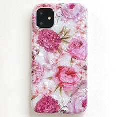 Custodia Silicone Gel Morbida Fiori Cover S01 per Apple iPhone 11 Rosa