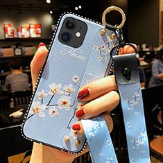 Custodia Silicone Gel Morbida Fiori Cover S01 per Apple iPhone 12 Azzurro