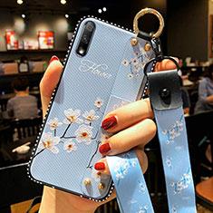 Custodia Silicone Gel Morbida Fiori Cover S01 per Huawei Enjoy 10 Cielo Blu