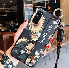 Custodia Silicone Gel Morbida Fiori Cover S01 per Huawei Enjoy Z 5G Giallo