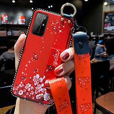 Custodia Silicone Gel Morbida Fiori Cover S01 per Huawei Honor 30S Rosso