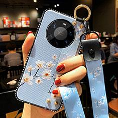 Custodia Silicone Gel Morbida Fiori Cover S01 per Huawei Mate 40 Pro+ Plus Azzurro