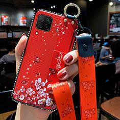 Custodia Silicone Gel Morbida Fiori Cover S01 per Huawei P40 Lite Rosso