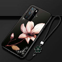 Custodia Silicone Gel Morbida Fiori Cover S01 per Huawei P40 Pro Marrone
