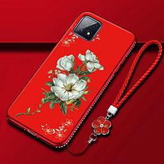 Custodia Silicone Gel Morbida Fiori Cover S01 per Oppo A73 5G Rosso
