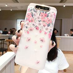 Custodia Silicone Gel Morbida Fiori Cover S01 per Samsung Galaxy A80 Rosa