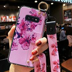 Custodia Silicone Gel Morbida Fiori Cover S01 per Samsung Galaxy S10e Viola