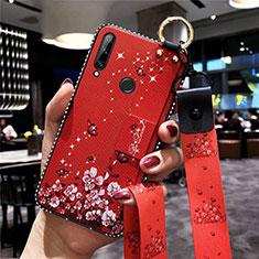 Custodia Silicone Gel Morbida Fiori Cover S02 per Huawei Enjoy 10 Plus Rosso