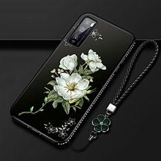Custodia Silicone Gel Morbida Fiori Cover S02 per Huawei Enjoy 20 Pro 5G Bianco