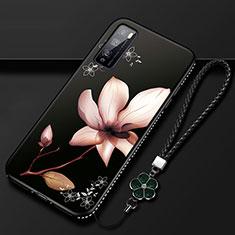Custodia Silicone Gel Morbida Fiori Cover S02 per Huawei Enjoy 20 Pro 5G Marrone