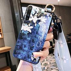 Custodia Silicone Gel Morbida Fiori Cover S02 per Realme X50m 5G Blu
