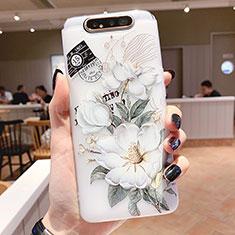 Custodia Silicone Gel Morbida Fiori Cover S02 per Samsung Galaxy A80 Verde