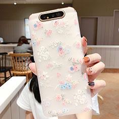 Custodia Silicone Gel Morbida Fiori Cover S03 per Samsung Galaxy A80 Rosa