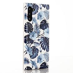 Custodia Silicone Gel Morbida Fiori Cover S03 per Samsung Galaxy Note 10 Blu