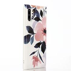 Custodia Silicone Gel Morbida Fiori Cover S03 per Samsung Galaxy Note 10 Plus 5G Rosa