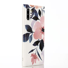 Custodia Silicone Gel Morbida Fiori Cover S03 per Samsung Galaxy Note 10 Plus Rosa