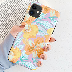 Custodia Silicone Gel Morbida Fiori Cover S04 per Apple iPhone 11 Oro