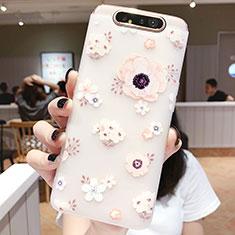 Custodia Silicone Gel Morbida Fiori Cover S04 per Samsung Galaxy A80 Rosa